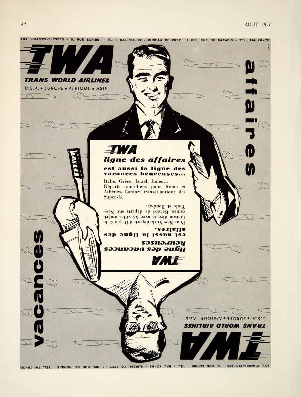 1957 Ad TWA Trans World Airlines Aviation Plane French Advertisement VENA6