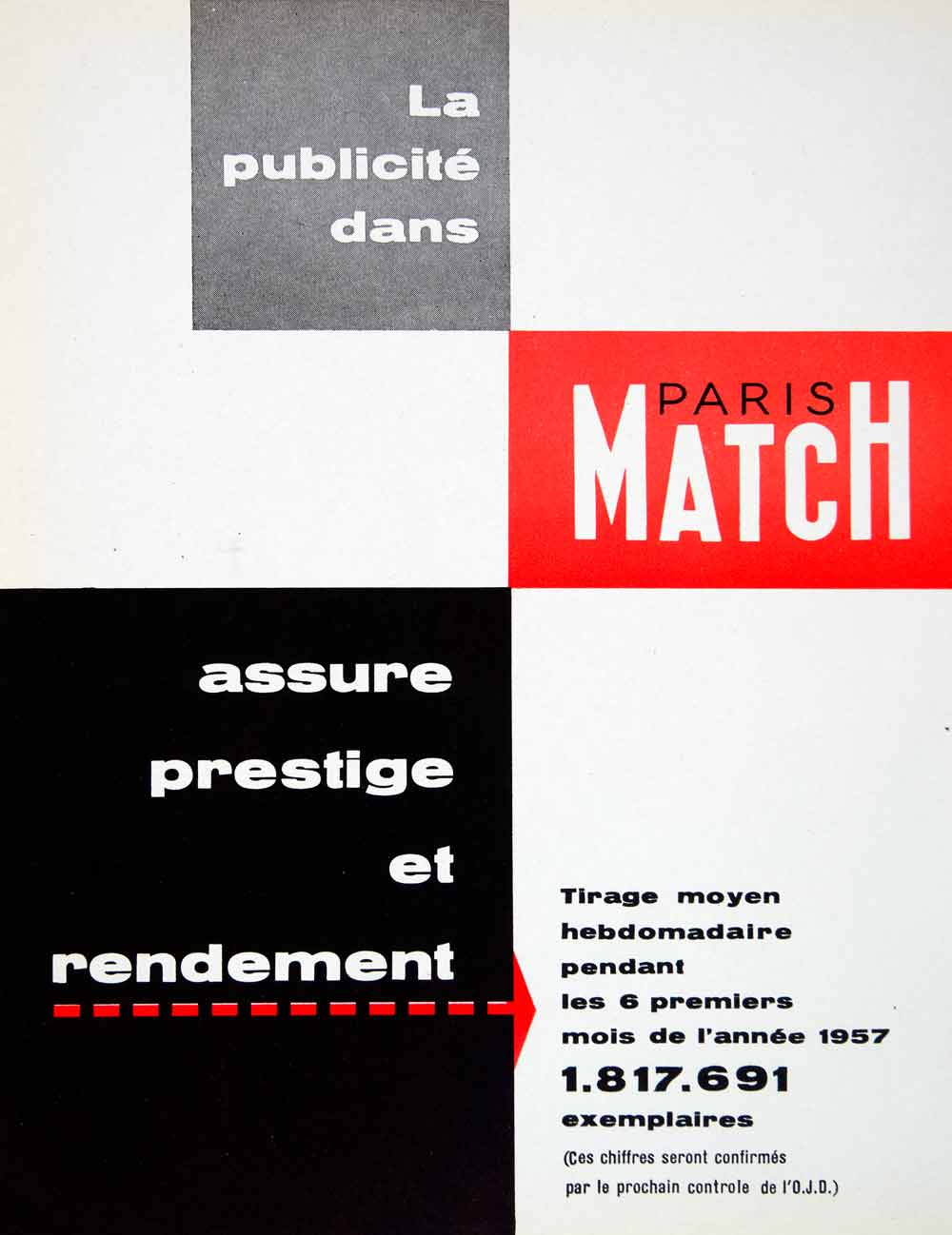1957 Ad Paris Match French Advertisement Magazine Newspaper La Publicite VENA6