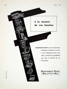 1957 Ad Remington Rand France French Advertisement Typewriter 12 Rue VENA6