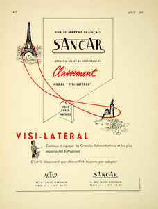 1957 Ad Sancar Visi-Lateral Eiffel Tower French Advertisement Actar Paris VENA6