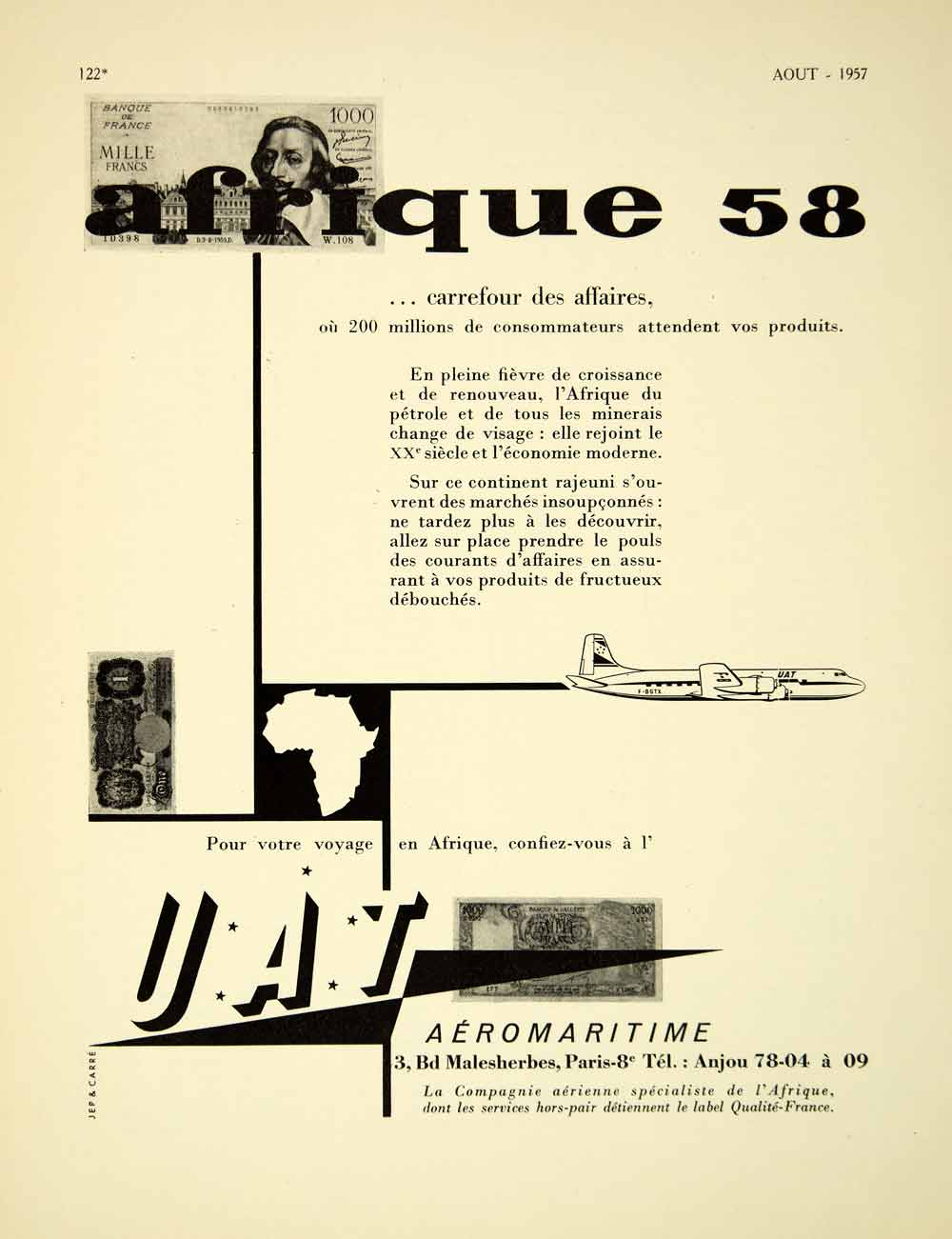 1957 Ad French Advertisement UAT Aeromaritime France Jep Carre Africa VENA6