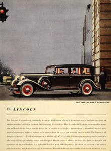 1934 Ad Lincoln Car Willoughby Limousine Luxury Ford - ORIGINAL ADVERTISING VF1
