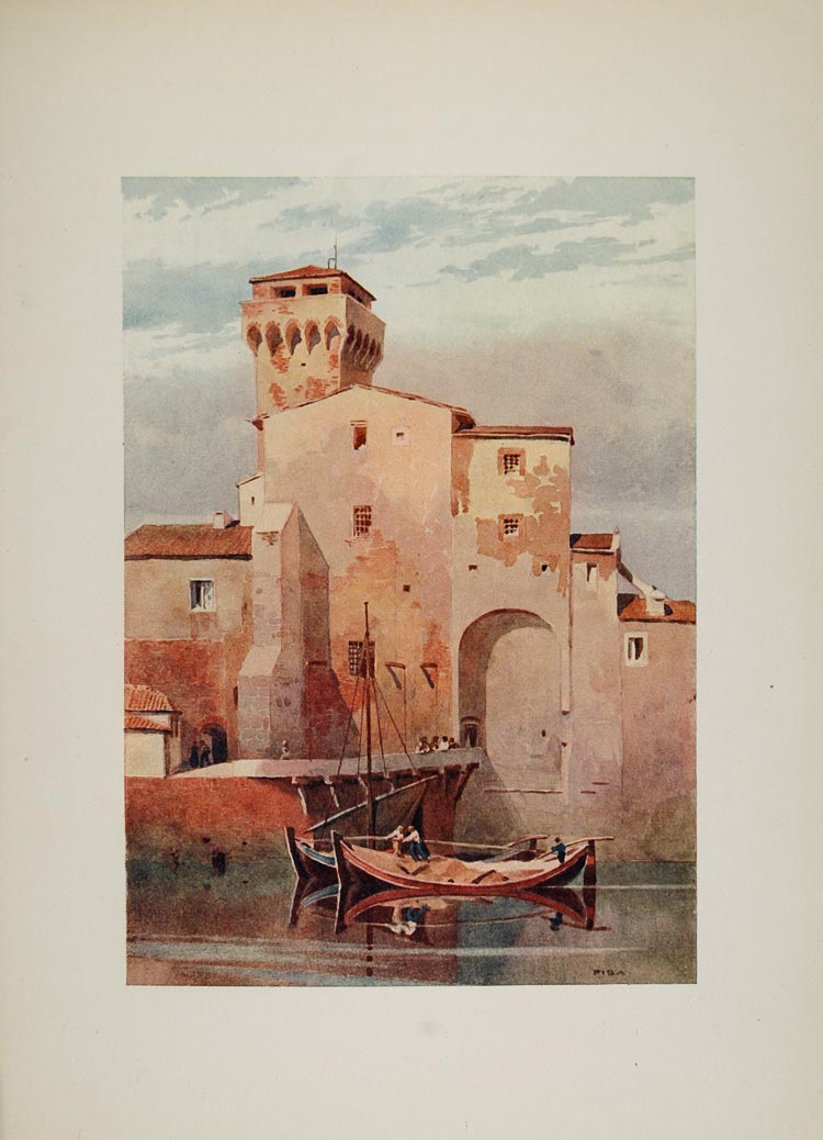 1905 Print Guelph Tower Torre Guelfa Pisa Arno Italy - ORIGINAL VN1