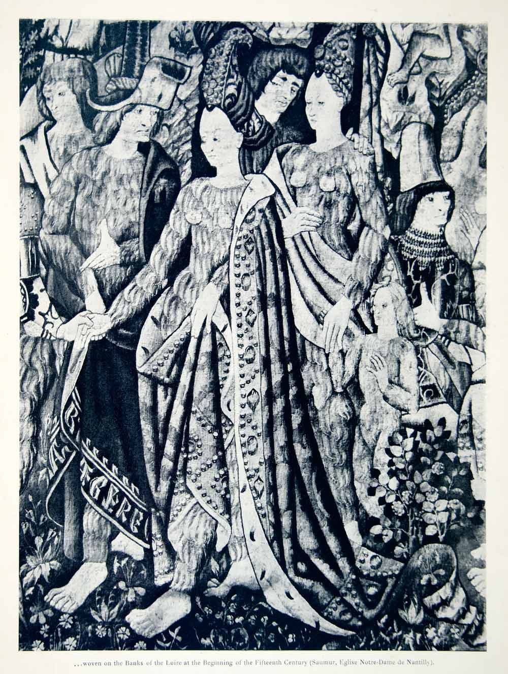1937 Print Tapestry Bal Sauvages Breast Costume Medieval Beasts Hairy Sword VV4