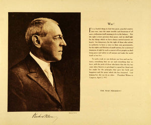 1920 Rotogravure President Woodrow Wilson Portrait WWI War Department WAR1