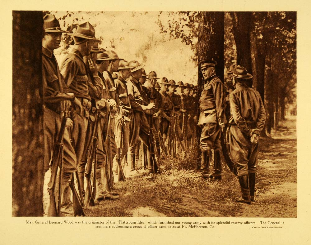 1920 Rotogravure WWI Fort McPherson Georgia Officer Candidates Leonard Wood WAR1