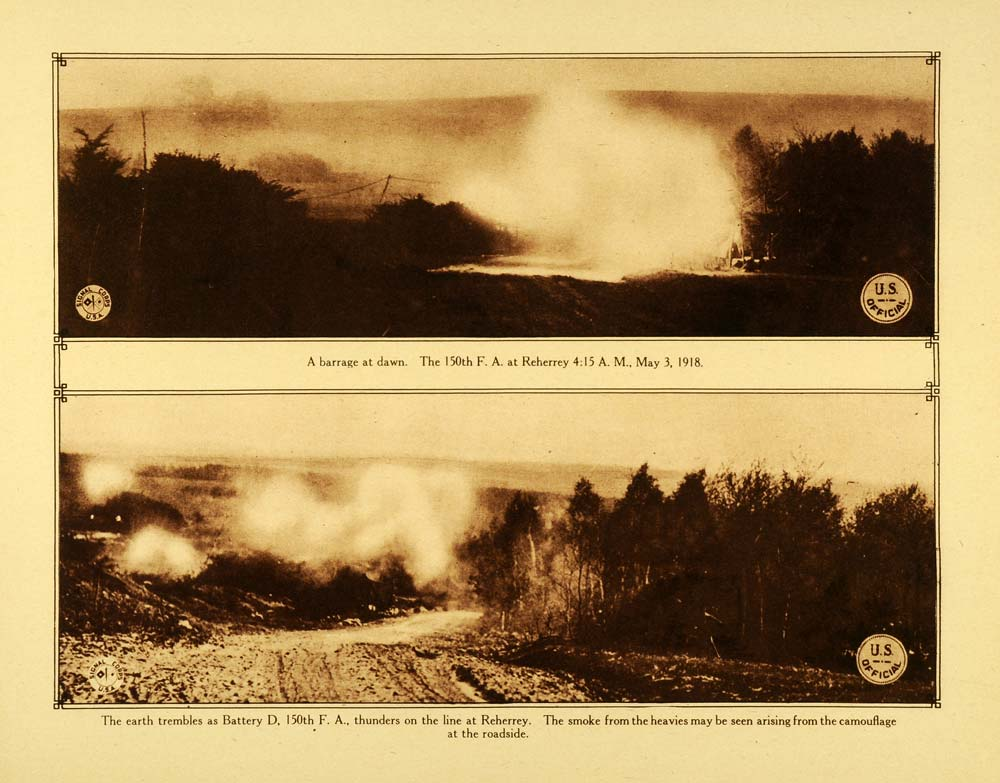 1920 Rotogravure WWI 150th Field Artillery Battery D Reherrey Warfare WAR1