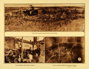 1920 Rotogravure WWI Aerial View Essey French Refugees American Infantry WAR1