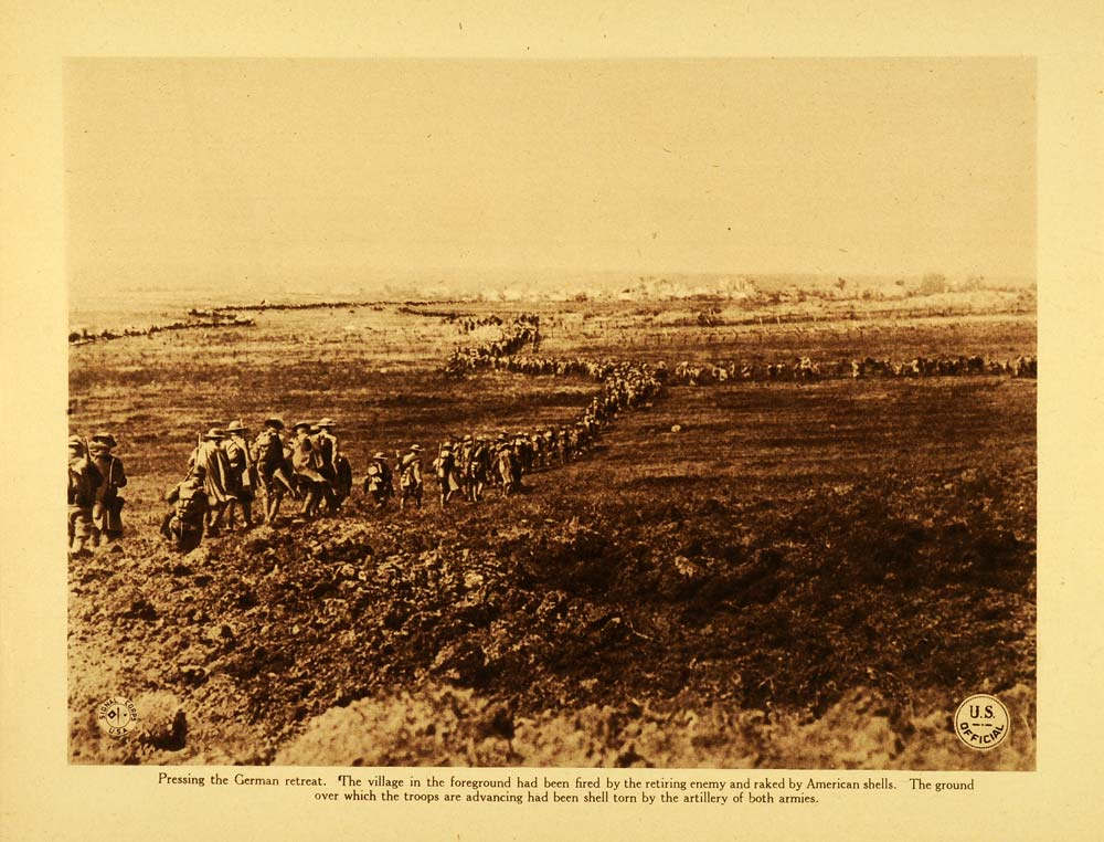 1920 Rotogravure WWI American Troops Marching German Military Retreat WAR1