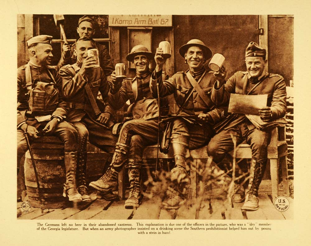 1920 Rotogravure WWI American Officers Drinking Beer War Southern WAR1