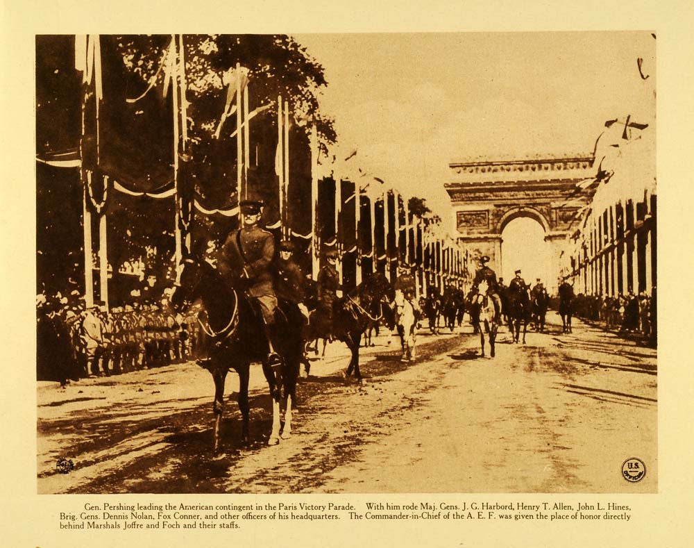 1920 Rotogravure WWI General Pershing Paris Victory Parade Cavalry Arc WAR1
