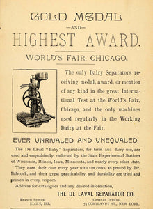 1893 Ad Antique De Laval Baby Dairy Separator Machine - ORIGINAL WFI1