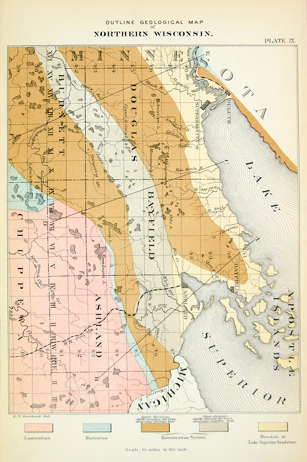 1880 Lithograph Map Geological Northern Wisconsin Bayfield Ashland