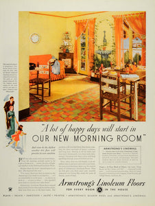 1934 Ad Armstrong Cork Linoleum Floor Covering Rug Home - ORIGINAL WH1