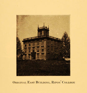 1924 Print Original East Building Ripon College 1851 - ORIGINAL HISTORIC WIS1
