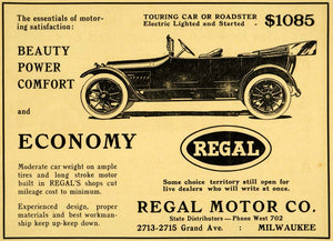1914 Ad Regal Motor Touring Car Roadster Electric Starter Lighted Milwaukee WM1