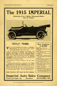 1914 Ad 1915 Imperial Auto Sales Milwaukee 64 Light Four Automobiles Poplar WM1