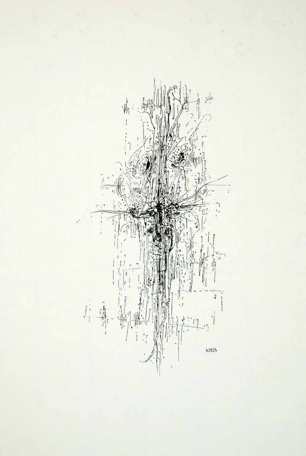 1965 Lithograph Wols Schulze Cross Eyes Croix Yeux Abstract Art Drawing Wol1