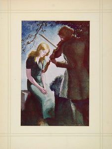1936 Willy Pogany Lovers Violin Browning Sonnets Print - ORIGINAL