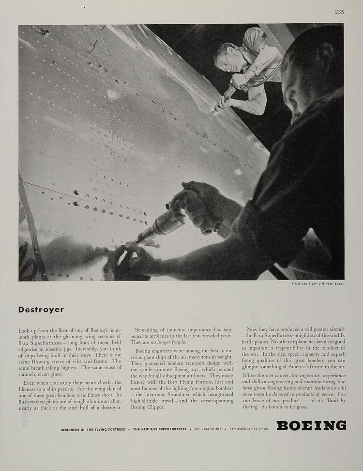 1944 Ad WWII Boeing B-29 Superfortress Assembly Worker Wartime Airplane WW2-1