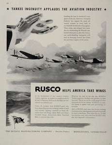 1943 Ad Rusco Russell Manufacturing Middletown CT WWII Wartime WW2-1
