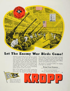 1943 Ad WWII Kropp Forge Anti-Aircraft Gun Assembly WW2 Wartime Weapons WW2-1