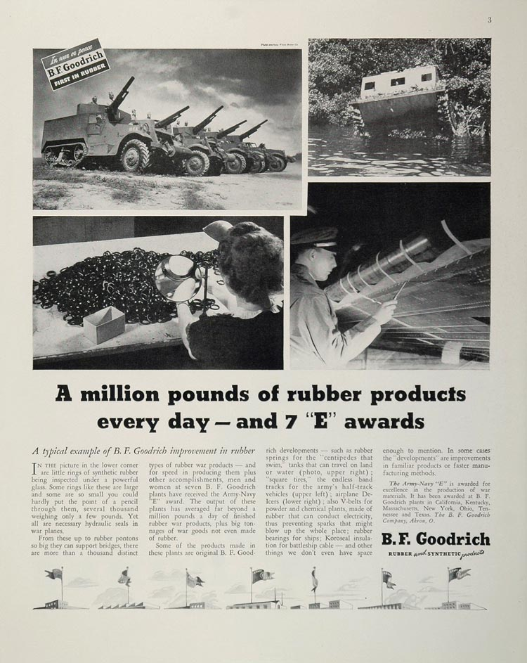 1943 WWII Ad B. F. Goodrich Rubber War Products Akron Wartime WW2-3