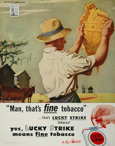 1944 Ad American Tobacco Lucky Strike Cigarette Smoking Crop Leaf Farmer WW2