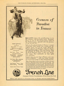 1924 Ad French Line Cruises Cannes Dinard Biarritz Nice - ORIGINAL WW3