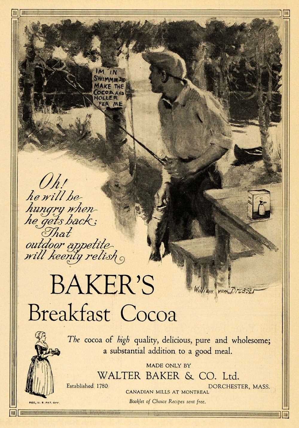 1924 Ad Baker's Breakfast Cocoa Man Fishing Childs Sign - ORIGINAL WW3
