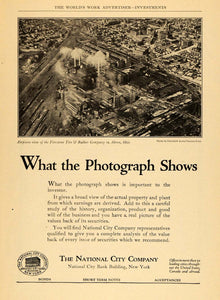 1924 Ad National City Bank Firestone Factory Aerial - ORIGINAL ADVERTISING WW3