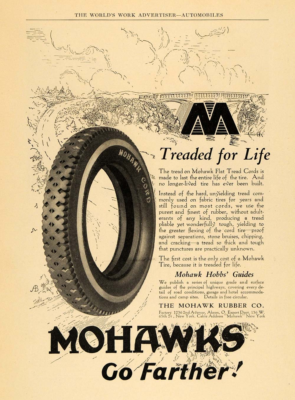 1924 Ad Mohawk Flat Tread Cord Rubber Car Tires Akron - ORIGINAL ADVERTISING WW3