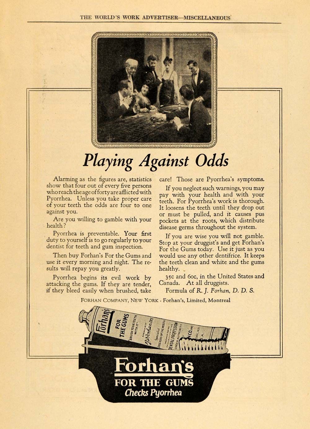 1922 Ad Forhan's for the Gums Paste Prevent Pyorrhea - ORIGINAL ADVERTISING WW3