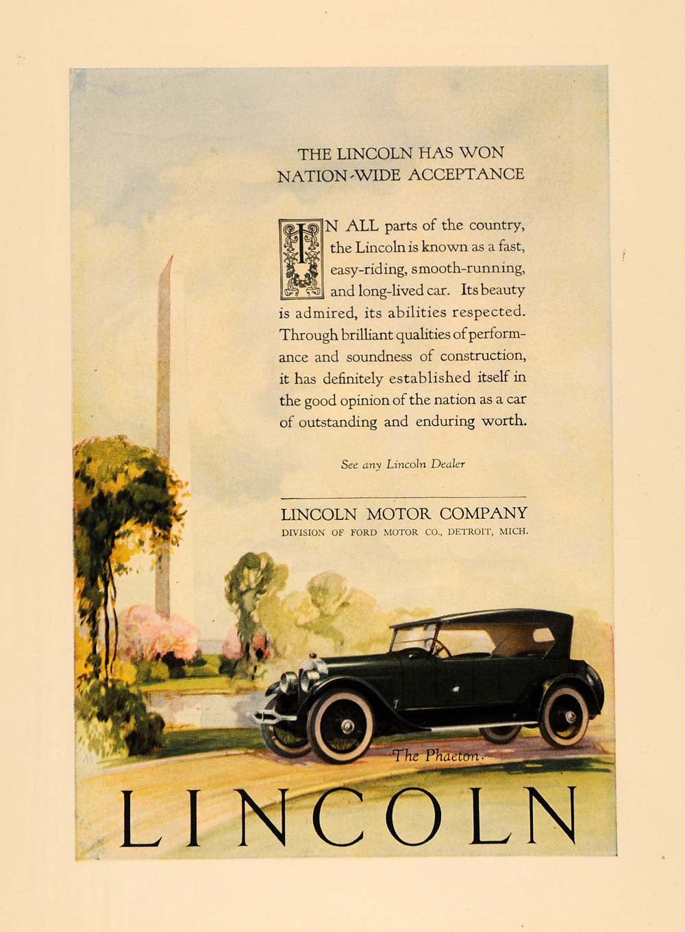 1924 Ad Lincoln Motor Automobile Phaeton Car Ford - ORIGINAL ADVERTISING WW3