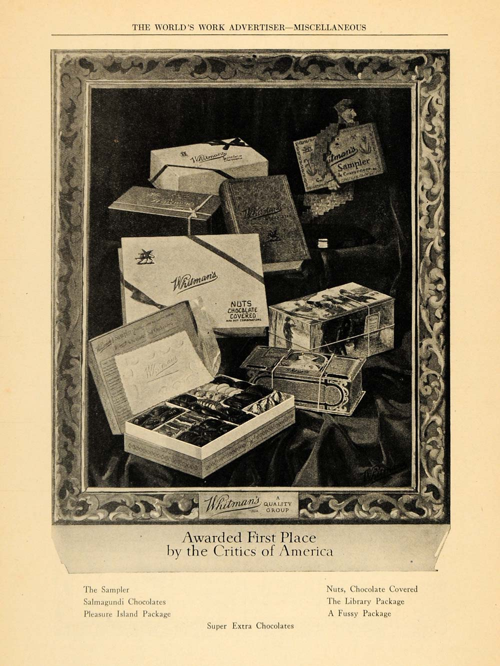 1922 Ad Whitman's Chocolate Nuts Candies Sampler Box - ORIGINAL ADVERTISING WW3