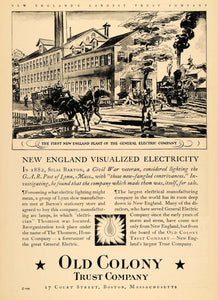 1929 Ad Old Colony Trust Co. General Electric Co. Plant - ORIGINAL WW3