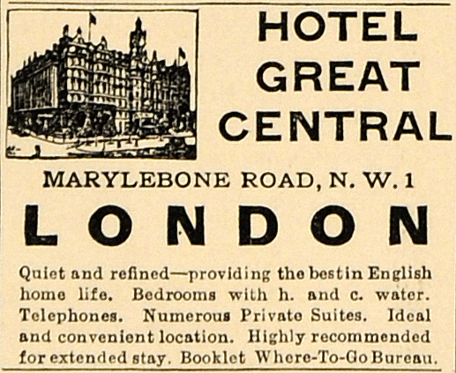 1930 Ad Hotel Great Central London Marylebone Road Home - ORIGINAL WW3