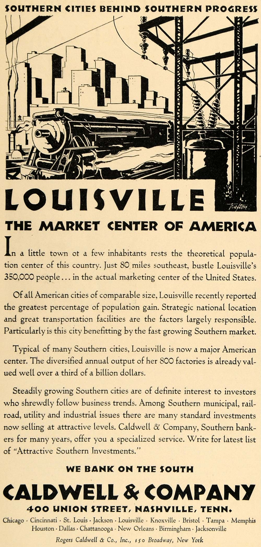 1930 Ad Southern Louisville Bank Caldwell Service Train - ORIGINAL WW3