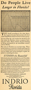 1926 Ad Life Expectancy Florida Indrio Cold South Ocean - ORIGINAL WW3