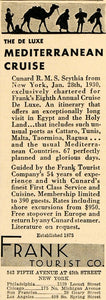 1929 Ad Frank Tourist Egypt Travel Cunard RMS Scythia - ORIGINAL ADVERTISING WW3