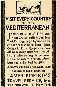 1929 Ad Mediterranean James Boring Travel White Star - ORIGINAL ADVERTISING WW3