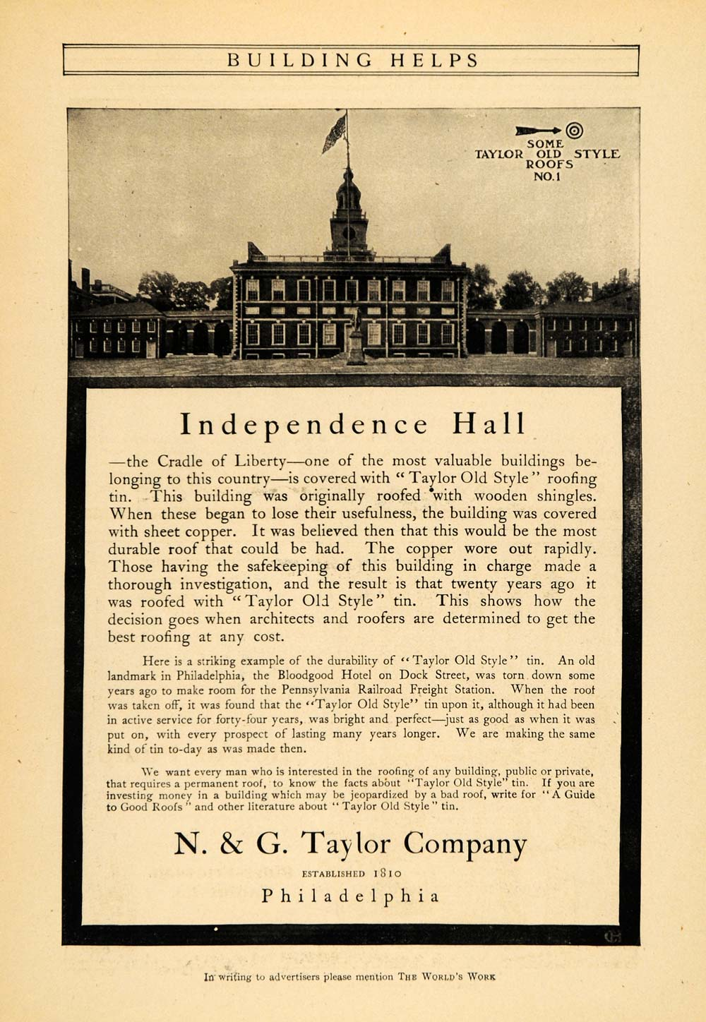 1905 Ad N. G. Taylor Old Style Roofs Independence Hall - ORIGINAL WW3