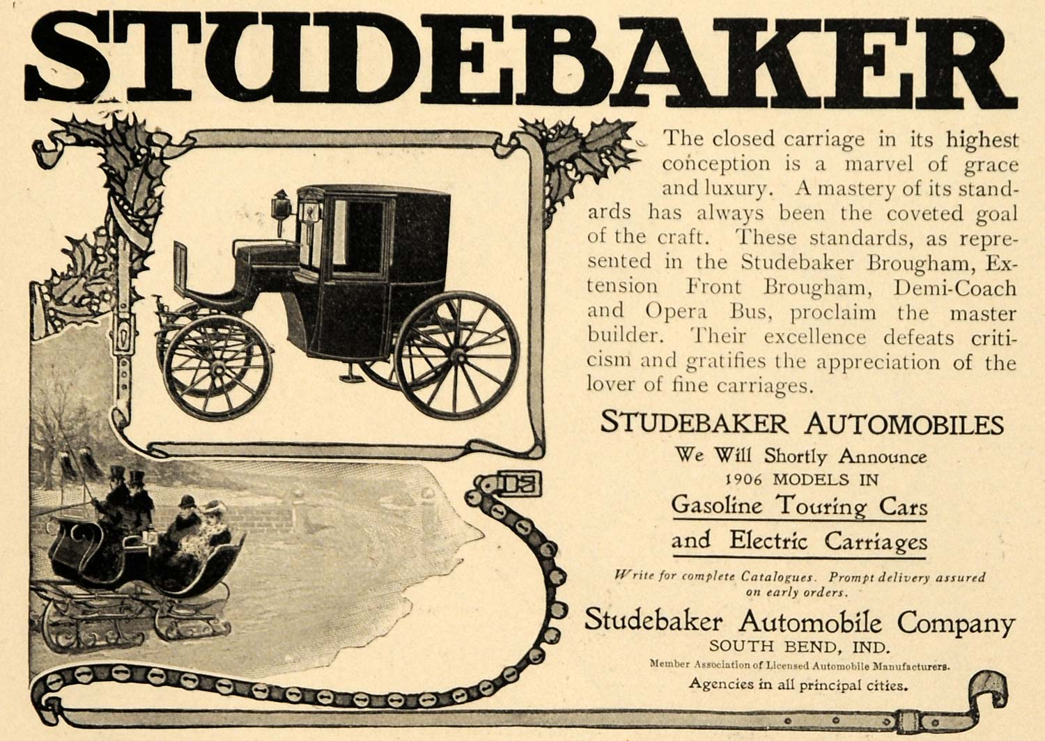 1905 Ad Studebaker Tour Cars Electric Carriage Holidays - ORIGINAL WW3