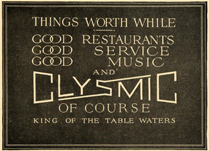 1918 Ad Clysmic King Of Drinking Table Waters Dining - ORIGINAL ADVERTISING WW3