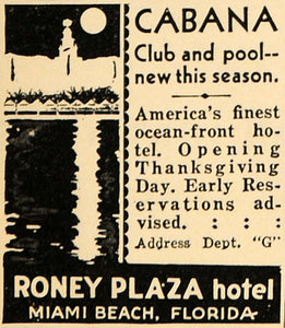 1930 Ad Roney Plaza Hotel Miami Beach Cabana Club Pool - ORIGINAL WW3