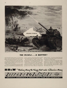 1943 Ad WWII Battle Tanks War RB & W Empire Bolts Nuts - ORIGINAL WWII