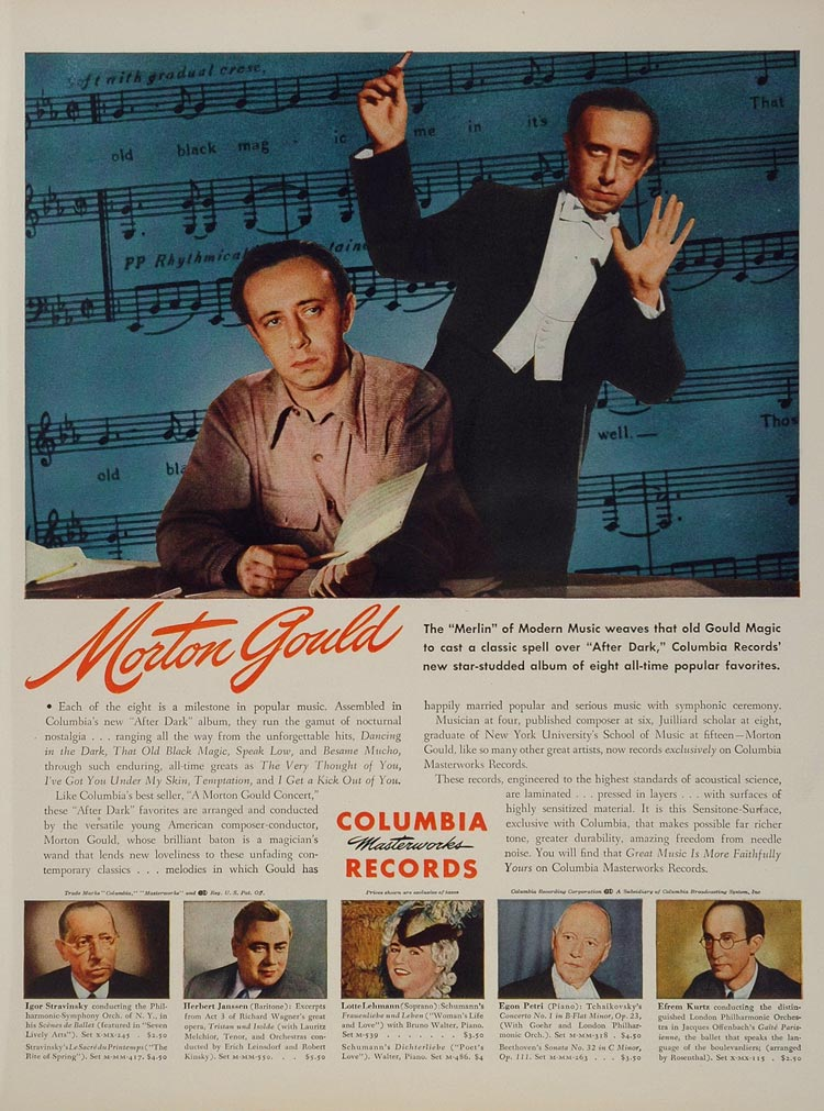 1945 Ad Morton Gould Columbia Records After Dark Music - ORIGINAL WWII