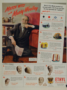 1945 Ad WWII Ethyl Gas Monty Woolley Home Front Quiz - ORIGINAL ADVERTISING WWII
