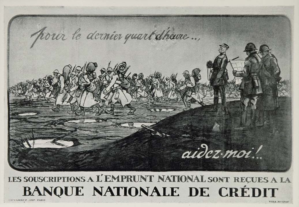 1920 WWI Sem French Soldiers March Loan Mini Poster France Wartime WWI