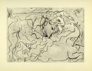 1956 Print Pablo Picasso Bullfight II Dry Point Abstract Art Bull Bullfighting